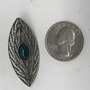 Jewelry - Sterling Silver Filigree and Malachite Brooch